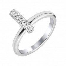 Серебряное кольцо Зиали с перпендикулярной накладкой и белыми кристаллами Swarovski