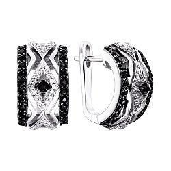 Срібні сережки з чорними та білими фіанітами 000134012