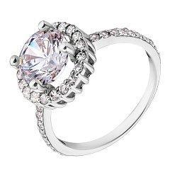 Золотое кольцо в белом цвете с цирконием Swarovski и фианитами 000036664