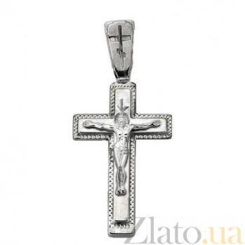 Крестик из серебра Светлый день с чернением 000007700