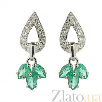 Серебряные серьги с бриллиантами и изумрудами Санти ZMX--EDE-6537-Ag_K