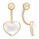 Серьга для пирсинга в желтом золоте Светлое сердце с белой эмалью