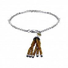 Серебряный браслет Руфина с подвеской-кисточкой из бусин раухтопаза