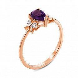 Кольцо из красного золота с аметистом и фианитами 000134948