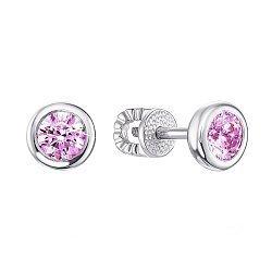 Серебряные серьги с розовыми кристаллами Swarovski 000133779