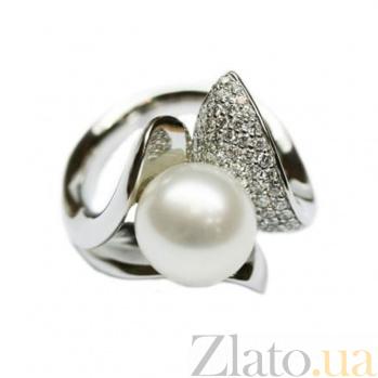 Золотое кольцо с жемчугом и бриллиантами Амфитрита 000026907