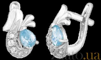 Серебряные серьги с голубым цирконием Берфане SLX--С2ФТ/098