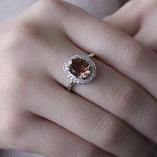 Серебряное кольцо Ронара с корундом султанит и фианитами