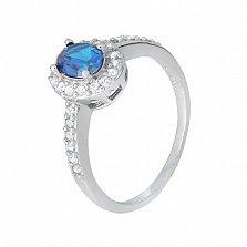 Серебряное кольцо с голубым фианитом Орлэйт