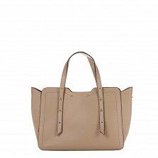 Кожаная деловая сумка Genuine Leather 8920 цвета тауп с фигурными краями и мелкими заклепками