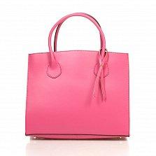 Кожаная деловая сумка Genuine Leather 8983 розового цвета на магнитной кнопке с подвеской из кожи