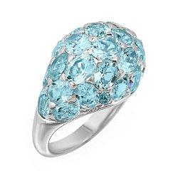 Кольцо в белом золоте с голубым топазом 000093642