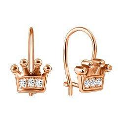 Серебряные серьги в виде короны с фианитами и позолотой 000070123