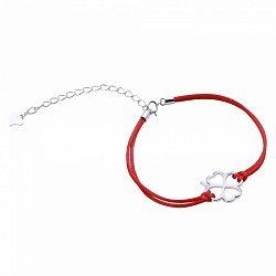 Браслет из серебра и шелковой красной нити Удача в любви 000099318