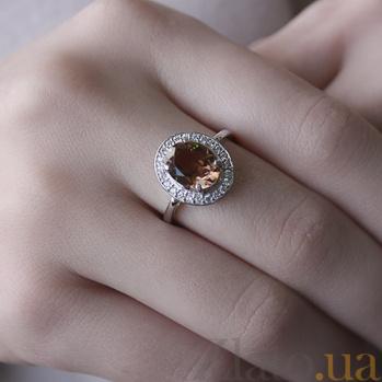 Серебряное кольцо Ронара с корундом султанит и фианитами 000045526