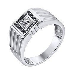 Серебряный перстень-печатка с фианитами 000140546