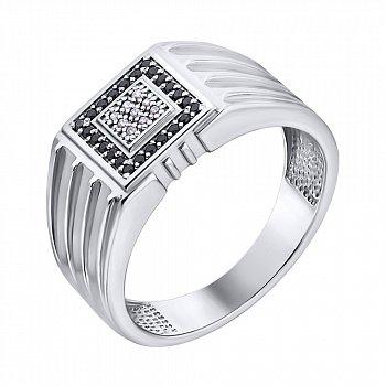 Срібний перстень-печатка з фіанітами 000140546