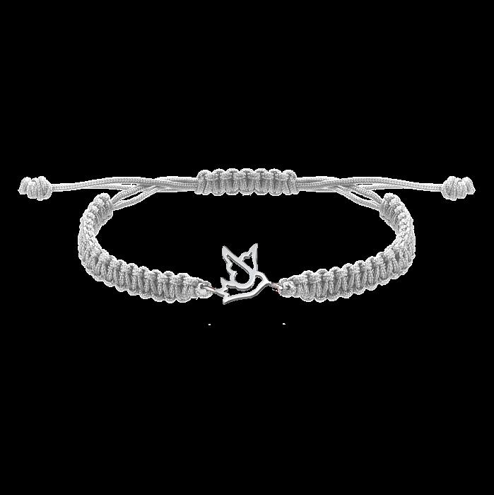 Серый плетеный браслет Птичка-невеличка с серебряной вставкой, 10х10мм 000080584
