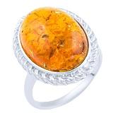Кольцо из серебра Аурика с янтарем