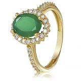 Золотое кольцо Альда в желтом цвете с зеленым ониксом и фианитами