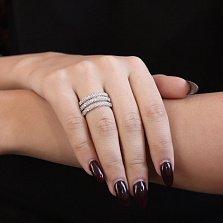 Серебряное кольцо Аренго с широкой шинкой и дорожками белых фианитов