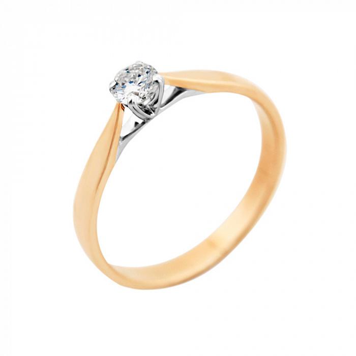 Золотое помолвочное кольцо Пенелопа в комбинированном цвете с бриллиантом VLA--15470