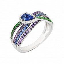 Золотое кольцо с аместистами, цаворитами, сапфирами и бриллиантами Лиловый рассвет