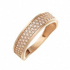 Золотое обручальное кольцо Сияние счастья с кристаллами циркония