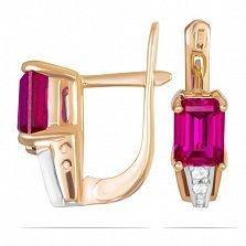 Золотые серьги Тереза с синтезированным рубином и фианитами