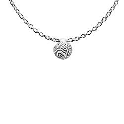 Минималистичное серебряное колье Coral Favida с фактурной бусиной