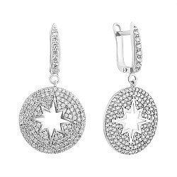 Серебряные серьги-подвески в усыпке белого циркония 000071350