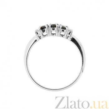 Золотое кольцо Хелена в белом цвете с сапфирами и бриллиантами ZMX--RS-10353w_K