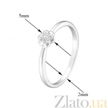 Кольцо в белом золоте Жасмин с фианитом 000023159