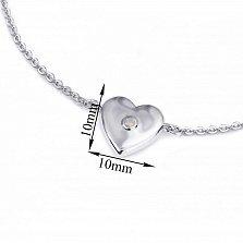 Серебряный браслет Сердце большое объёмное с розовым синтезированным опалом, 10x10мм