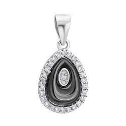 Серебряная подвеска с керамикой и кристаллами циркония 000096528