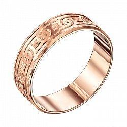 Обручальное кольцо из красного золота с алмазной гранью 000000302