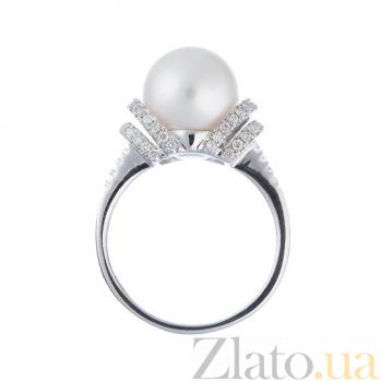 Золотое кольцо с жемчугом и бриллиантами Лаура 1К193-0009