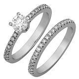 Двойное кольцо из белого золота с бриллиантами Бриджит
