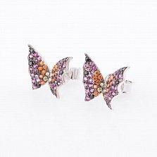 Серебряные серьги-пуссеты Очарование лета с цветными фианитами