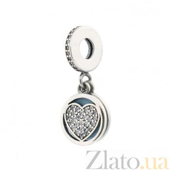 Серебряный шарм My heart smile с фианитами и голубой эмалью 000080249