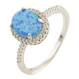Серебряное кольцо Мириам с голубым опалом и фианитами
