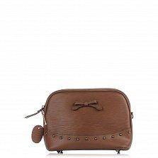 Кожаный клатч Genuine Leather 1408 цвета тауп с бантом и металлическими ножками