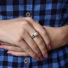 Серебряное кольцо Паж с жемчугом и фианитами