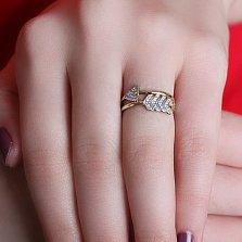 Серебряное позолоченное кольцо Стрела амура с цирконием