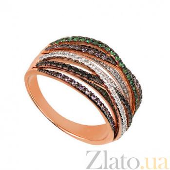 Кольцо из красного золота Наоми с разноцветными фианитами VLT--ТТТ1240-2