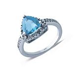 Серебряное кольцо с фианитами Голубая лагуна