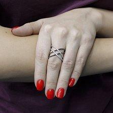 Серебряное кольцо Свет и тень с черными и белыми фианитами