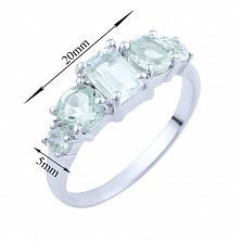 Серебряное кольцо Галия с зелеными аметистами