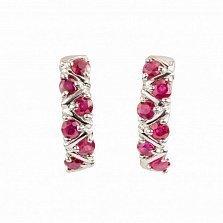 Серебряные серьги Иоланта с рубинами