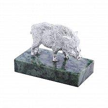 Покрытая серебром статуэтка Кабан на мраморной подставке